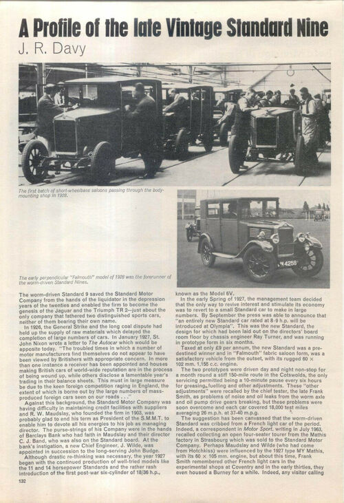 Standard 9 of the late 1920s Profile from Veteran and Vintage 1975 CUTTING